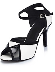 cheap -Women's Dance Shoes Leather Latin Shoes Sandal Customized Heel Black / White / Indoor / EU43