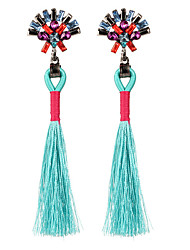 cheap -Women's Crystal Drop Earrings Tassel Long Statement Ladies Tassel Vintage Bohemian Simple Style Crystal Earrings Jewelry Orange / Light Blue / Light Brown For Party Birthday Gift Evening Party Going