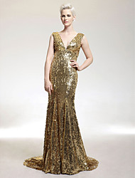 cheap -Mermaid / Trumpet V Neck Sweep / Brush Train Sequined Sparkle & Shine / Celebrity Style Formal Evening Dress with Sequin by TS Couture®