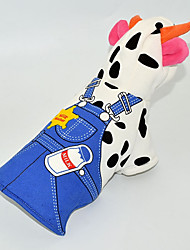 cheap -Dog Costume Dog Clothes Animal Blue Cotton Costume For Spring &  Fall Winter Men's Women's Cosplay