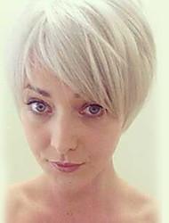 Недорогие -Человеческие волосы Парик Прямой Классика Короткие Прически 2020 Классика Прямой силуэт Машинное плетение Серебряный Повседневные