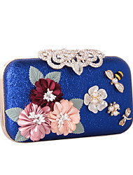 cheap -Women's Bags leatherette Evening Bag Rhinestone Petal Satin Flower Wedding Party Event / Party Black Blue Red Gold