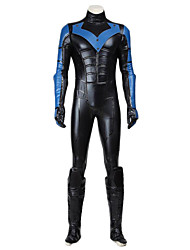 cheap -Super Heroes Bat Cosplay Cosplay Costume Halloween Props Party Costume Men's Women's Movie Cosplay Blue Leotard / Onesie Gloves Mask Christmas Halloween Carnival Leather