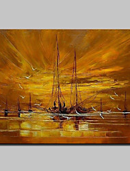 cheap -Oil Painting Hand Painted - Abstract Landscape Abstract Modern Rolled Canvas (No Frame)