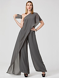 cheap -Jumpsuits Sexy Grey Wedding Guest Formal Evening Dress One Shoulder Sleeveless Floor Length Chiffon with Draping 2020