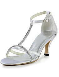 cheap -Women's Wedding Shoes Stiletto Heel Open Toe Crystal Elastic Fabric Basic Pump Summer White / Party & Evening