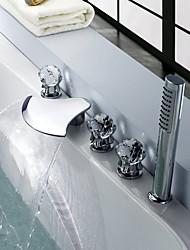 cheap -Bathtub Faucet - Contemporary / Modern Style Chrome Widespread Brass Valve