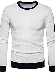 cheap -Men's Basic Long Sleeve Sweatshirt - Solid Colored Round Neck White L / Fall / Winter
