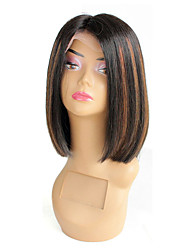 cheap -Remy Human Hair Glueless Lace Front Lace Front Wig Bob style Brazilian Hair Straight Wig 130% Density with Baby Hair Faux Locs Wig Ombre Hair Natural Hairline African American Wig Women's Short