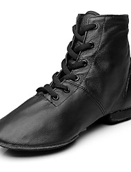 cheap -Women's Dance Shoes Leather / Canvas Jazz Shoes Boots Flat Heel Customizable Black / Performance / EU43