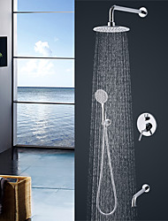 cheap -Shower Faucet - Contemporary / Modern Style Chrome Wall Mounted Ceramic Valve