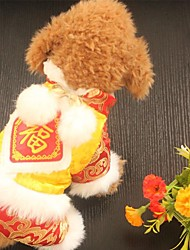 cheap -Dog Coat Dog Clothes New Year's Embroidered Ruby