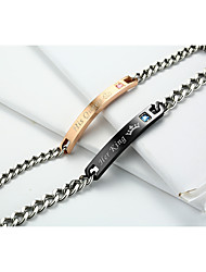 cheap -Couple's AAA Cubic Zirconia Chain Bracelet Love Simple Style Fashion Titanium Bracelet Jewelry Black / Rose Gold For Wedding Daily Evening Party Valentine
