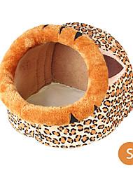 Недорогие -Собака Матрас Кровати Одеяла Теплый Животные Коврики и подушки Плюшевая ткань Однотонный Цвет-леопард