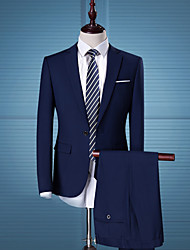 cheap -Men's Party / Daily / Work Business / Simple / Casual Spring / Fall Regular Suits, Solid Colored Notch Lapel Long Sleeve Polyester Black / Blue / Street chic / Business Formal / Slim