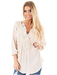 cheap -Women's Plus Size Solid Colored Lace Blouse Daily Weekend V Neck White / Black / Blue / Purple / Blushing Pink / Fuchsia / Green / Light Green