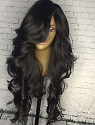 Недорогие -Не подвергавшиеся окрашиванию Бесклеевая кружевная лента Лента спереди Парик Свободная часть Kardashian стиль Бразильские волосы Естественные кудри Природа Черный Парик 130% 150% 180% Плотность волос