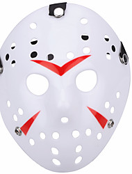 cheap -Halloween New Porous Jason Killer Mask Red Stripe 13th Horror Hockey Cosplay Carnaval Masquerade Party Costume Prop