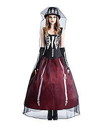 cheap -Skeleton / Skull Bride Dress Costume Adults' Women's Dresses Halloween Halloween Day of the Dead Festival / Holiday Polyster Red / black Female Carnival Costumes Vintage