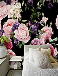 cheap -Black Background Peony Flower Custom 3D Large Wall Covering Mural Wallpaper Fit Restaurant Tv Background Flower