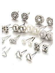 cheap -Women's Crystal Stud Earrings Heart Ladies Fashion Elegant Bling Bling Crystal Imitation Pearl Earrings Jewelry Gold / Silver For Daily Casual Evening Party Formal Date 12pcs