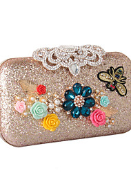 cheap -Women's Bags leatherette Evening Bag Rhinestone Petal Satin Flower Wedding Party Event / Party Gold Silver