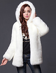 cheap -Women's Going out Simple / Casual Fall / Winter Plus Size Regular Fur Coat, Solid Colored Hooded Long Sleeve Faux Fur White / Black