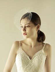 cheap -One-tier Beaded Edge Wedding Veil Blusher Veils with Sparkling Glitter Tulle / Birdcage