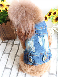 cheap -Dog Denim Jacket / Jeans Jacket Dog Clothes Solid Colored Blue Oxford cloth Costume For Summer Men's Women's Casual / Daily