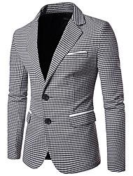 cheap -Men's Work Business / Vintage Fall Regular Blazer, Houndstooth Peaked Lapel Long Sleeve Cotton Green / Black / Business Casual / Slim