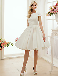 cheap -A-Line Wedding Dresses Jewel Neck Knee Length Satin Short Sleeve Formal Simple Casual Little White Dress with Sash / Ribbon 2020