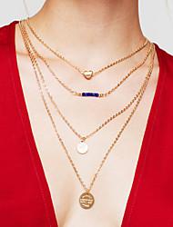 Недорогие -Жен. Слоистые ожерелья длинное ожерелье Многослойный Монета Сердце Дамы Мода Многослойный Позолота Металл цвета желтого золота Сплав Золотой Ожерелье Бижутерия Назначение