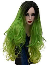 cheap -Cosplay Costume Wig Synthetic Wig Natural Wave Natural Wave Wig Long Green Synthetic Hair Women's Ombre Hair Green