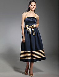 cheap -Ball Gown Spaghetti Strap Tea Length Stretch Satin Inspired by Sex and the City / 1950s / Cute Cocktail Party Dress with Bow(s) / Sash / Ribbon 2020 / Celebrity Style