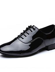 cheap -Men's Dance Shoes Faux Leather Latin Shoes Full Sole Low Heel Black / Practice