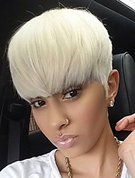 cheap -Human Hair Capless Wigs Human Hair Straight / Classic Short Hairstyles 2019 African American Wig Machine Made Wig Daily