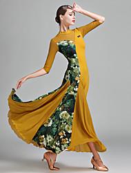 cheap -Ballroom Dance Dress Pattern / Print Splicing Women's Half Sleeve Natural Tulle Lycra Ice Silk
