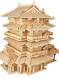 Недорогие -3D пазлы Пазлы Наборы для моделирования Знаменитое здание Своими руками деревянный Натуральное дерево Классика В китайском стиле Детские Универсальные Игрушки Подарок