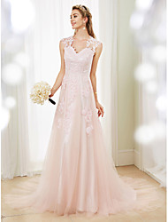 cheap -A-Line V Neck Sweep / Brush Train Lace / Tulle Cap Sleeve Sexy See-Through / Illusion Detail / Backless Wedding Dresses with Appliques 2020