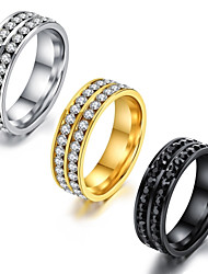 cheap -Men's Band Ring Eternity Band Ring Groove Rings AAA Cubic Zirconia Gold White Black Titanium Steel Circle Classic Vintage Basic Party Birthday Jewelry