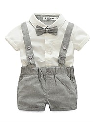 cheap -Infant Boys' Elegant & Luxurious Solid Colored Short Sleeve Cotton Clothing Set Brown
