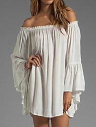 cheap -Women's Off Shoulder Plus Size Daily Mini Chiffon Dress - Solid Colored White Boat Neck Summer Black Pink Light Green XL XXL XXXL