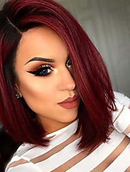 cheap -Synthetic Wig Straight Straight Bob Wig Ombre Short Black / Burgundy Synthetic Hair Women's Ombre Hair Ombre