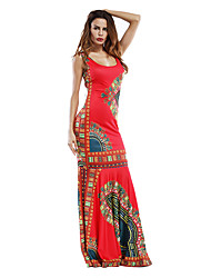 cheap -Women's Boho / Beach Maxi Army Green Red Dress Casual Vintage Summer Party Holiday Going out Shift Sheath Geometric Deep U Ruched S M