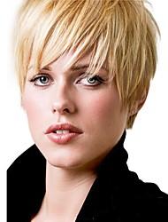 cheap -Human Hair Blend Wig Straight Short Hairstyles 2020 Berry Straight Machine Made Strawberry Blonde / Light Blonde
