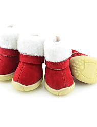 Недорогие -Собака Ботинки и сапоги Сохраняет тепло Зимние сапоги Рождество Однотонный Для домашних животных