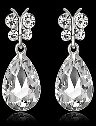 cheap -Women's Synthetic Sapphire Synthetic Diamond Drop Earrings Pear Cut Drop Ladies Fashion Earrings Jewelry White / Green / Royal Blue For Party Birthday Daily