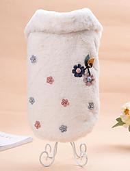 cheap -Cat Dog Sweatshirt Fleece Coat Winter Dog Clothes Beige Coffee Costume Flannel Fabric Floral / Botanical Casual / Daily Keep Warm Wedding S M L
