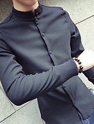 cheap -Men's Daily Going out Chinoiserie Cotton Shirt - Solid Colored Black / Turtleneck / Long Sleeve