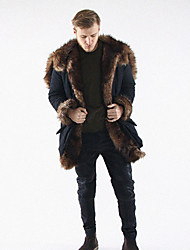 cheap -Men's Daily / Work / Weekend Winter Long Fur Coat, Solid Colored Shawl Lapel Long Sleeve Faux Fur / Fox Fur / Raccoon Fur Black / Loose